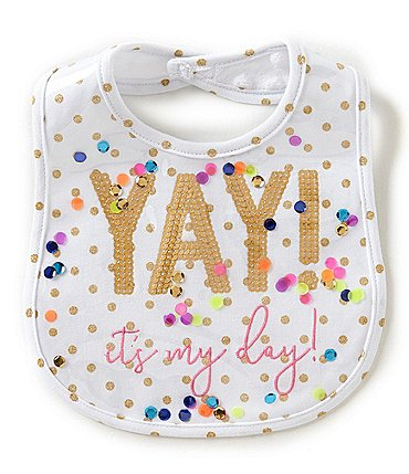 Image of Mud Pie Baby Girls Dotted and Sequin Yay It's My Day Bib