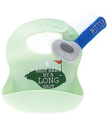 Image of Mud Pie Baby Golf Silicone Bib & Putter Rattle Set