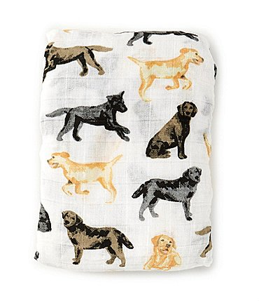 Image of Mud Pie Baby Labrador Muslin Swaddle Blanket