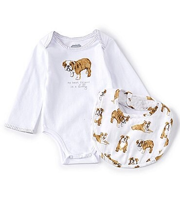 Image of Mud Pie Baby Boys Newborn-6 Months Long-Sleeve Bulldog Bodysuit & Bulldog-Printed Bib Set