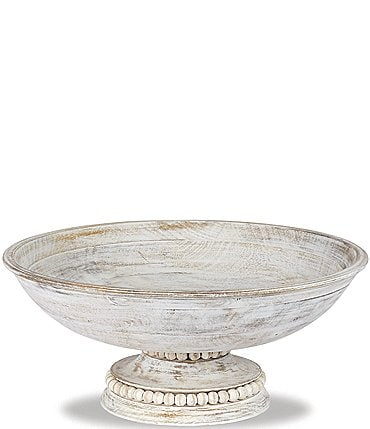 Image of Mud Pie Beaded White Washed Wood Pedestal Bowl