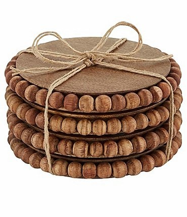 Image of Mud Pie Beaded Wood Coaster Set