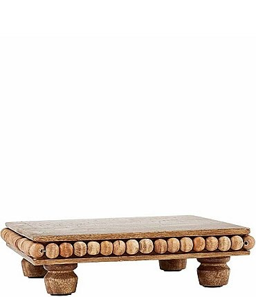 Image of Mud Pie Beaded Wood Footed Trivet