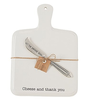 Image of Mud Pie Bistro Cheese And Thank You Cheese Paddle Board with Spreader