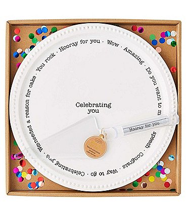 Image of Mud Pie Cake Plate with Touch Activated Musical Caker Server