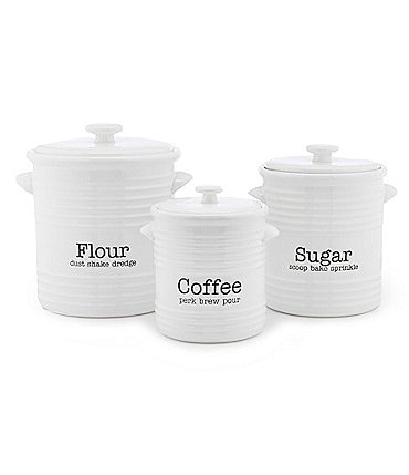 Image of Mud Pie Ceramic Set of 3 Ribbed Canister Sets