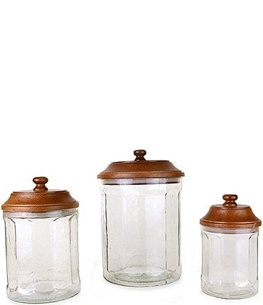Image of Mud Pie Circa Glass Wood Canisters, Set of 3