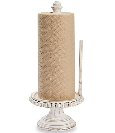 Image of Mud Pie Classic Beaded Wood Paper Towel Holder