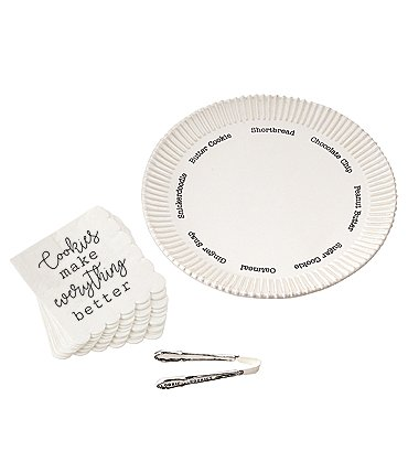 Image of Mud Pie Cookie Plate Set with Napkins and Tongs