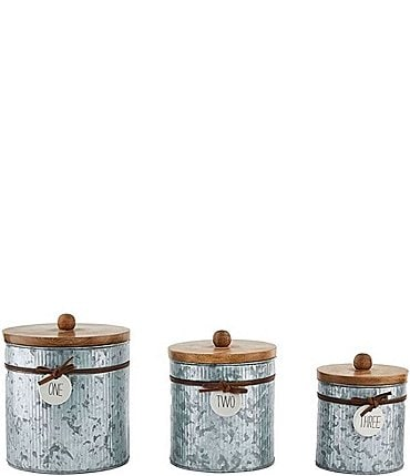Image of Mud Pie Corrugate Tin Bistro Nested Canister Set