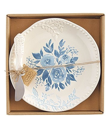 Image of Mud Pie Cottage Collection Blue Floral Cheese Plate Set
