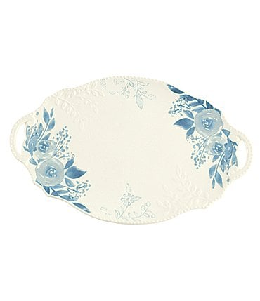Image of Mud Pie Cottage Collection Large Floral Platter