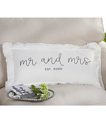 Image of Mud Pie Est. 2020 Mr. And Mrs. Wedding Pillow