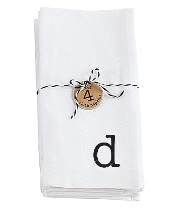 Image of Mud Pie Flour Sack Initial Napkins Set of 4