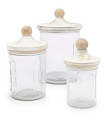 Image of Mud Pie Glass 3-Piece Canister Set