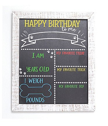 Image of Mud Pie Happy Birthday Dog Chalkboard Sign