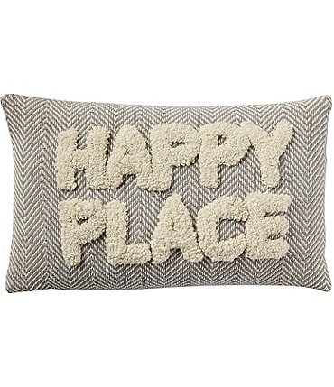 Image of Mud Pie Happy Everything Collection Happy Place Tufted Pillow