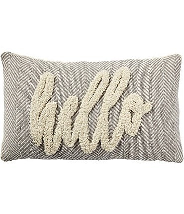 Image of Mud Pie Happy Everything Collection Hello Tufted Pillow