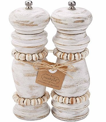 Image of Mud Pie White Beaded Grinder Set