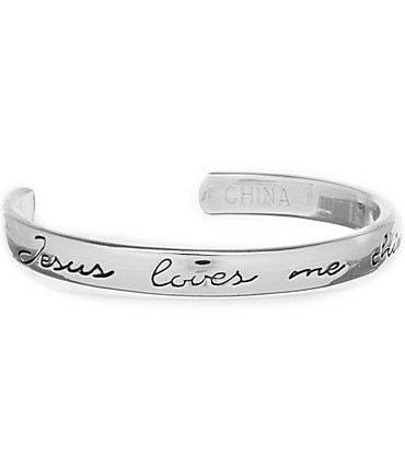 Image of Mud Pie Jesus Loves Me This I Know Silverplated Cuff Bracelet
