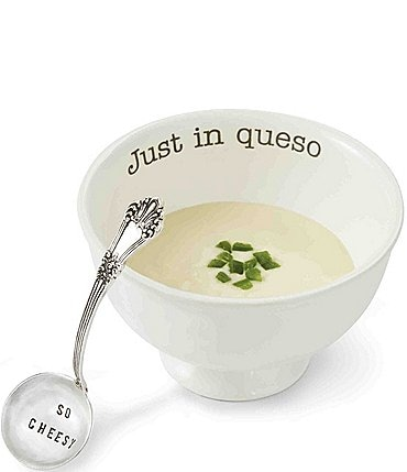 Image of Mud Pie Just In Queso Ceramic & Silver 2-Piece Dip Set
