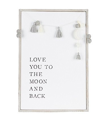 Image of Mud Pie Moon & Back Gray Tassel Moon Plaque Nursery Decor