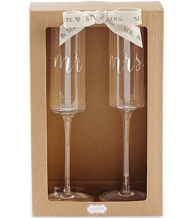 Image of Mud Pie Mr & Mrs Champagne Flute Set