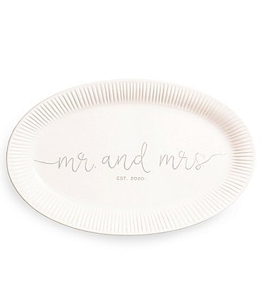 Image of Mud Pie Mr & Mrs Est 2020 Wedding Platter