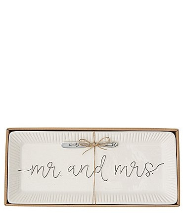 Image of Mud Pie Mr & Mrs Hostess Tray Set