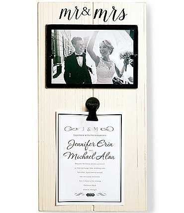 Image of Mud Pie Mr & Mrs Invitation Clip Wood Frame