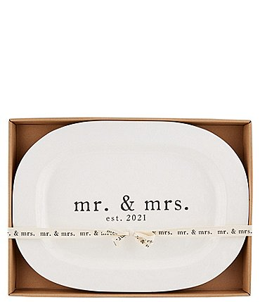 Image of Mud Pie Wedding Collection Mr & Mrs EST. 2021 Oval Platter