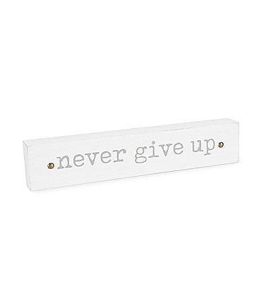 Image of Mud Pie Never Give Up Inspirational Sentiment Stick Nursery Decor