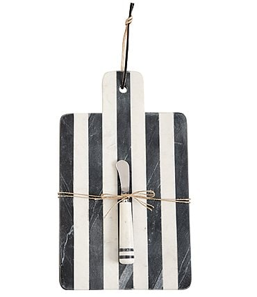 Image of Mud Pie Paddle Stripe Marble Board Set