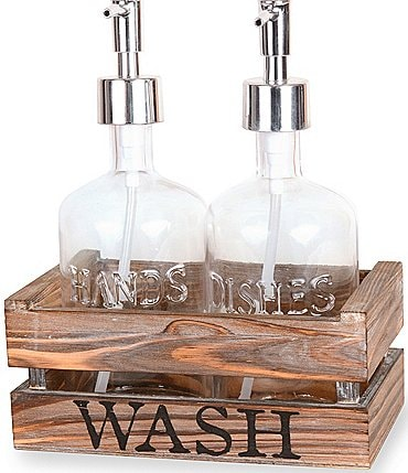 Image of Mud Pie Soap & Hand Pump Set in Wood Crate
