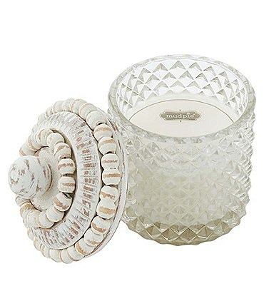 Image of Mud Pie Ticking White Beaded Candle