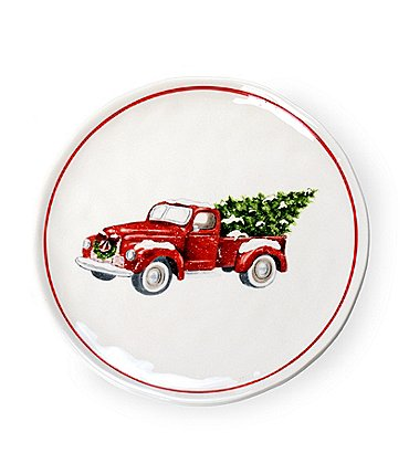 Image of Mud Pie Vintage Christmas Truck Salad Plate