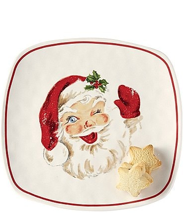 Image of Mud Pie Vintage Collection Square Santa Cookie Platter
