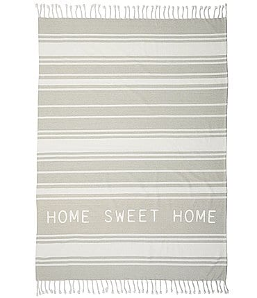 Image of Mud Pie Vintage Farmhouse Collection Home Sweet Home Turkish Cotton Throw