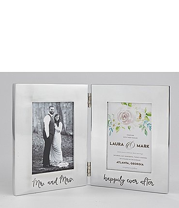 Image of Mud Pie Wedding Collection Bridal Engraved Folding Aluminum Frame