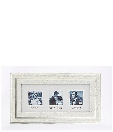 Image of Mud Pie Wedding Collection Distressed Wood & Linen Triple Frame