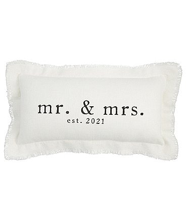 Image of Mud Pie Wedding Collection Mr & Mrs EST. 2021 Rectangle Pillow