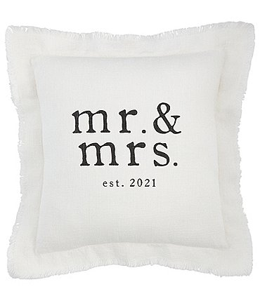 Image of Mud Pie Wedding Collection Mr & Mrs EST. 2021 Square Pillow