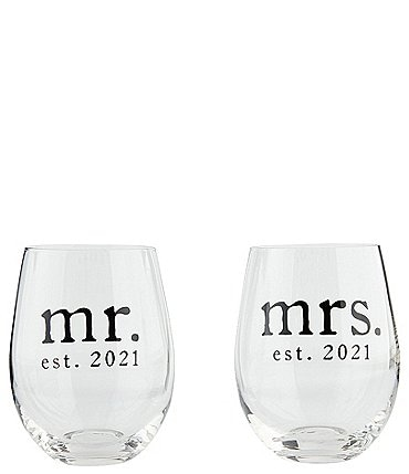 Image of Mud Pie Wedding Collection Mr & Mrs 2021 Stemless Wine Set