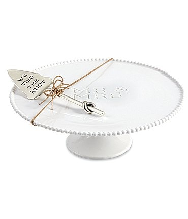 Image of Mud Pie Wedding Collection Mr & Mrs Beaded Pedestal Cake Stand and Server