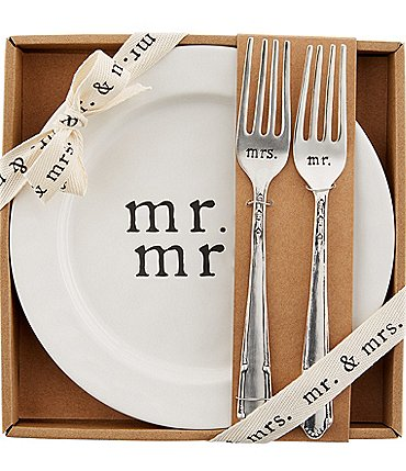 Image of Mud Pie Wedding Collection Mr & Mrs Cake Plate Set