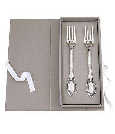 Image of Mud Pie Wedding Collection Mr & Mrs Fork Set