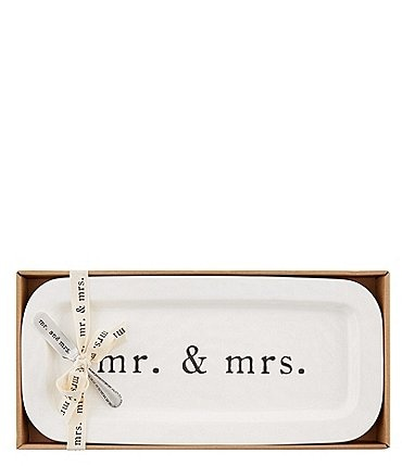 Image of Mud Pie Wedding Collection Mr & Mrs Hostess Tray and Spreader