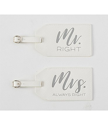 Image of Mud Pie Wedding Collection Mr & Mrs Luggage Tag Set