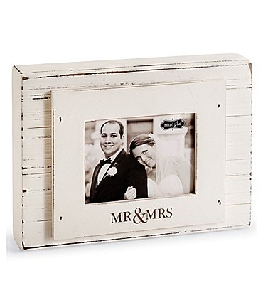Image of Mud Pie Wedding Collection Mr. & Mrs. 3 x 4 Block Frame