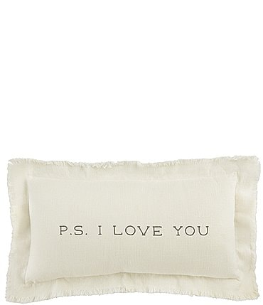Image of Mud Pie Wedding Collection P.S. I Love You Frayed Pillow
